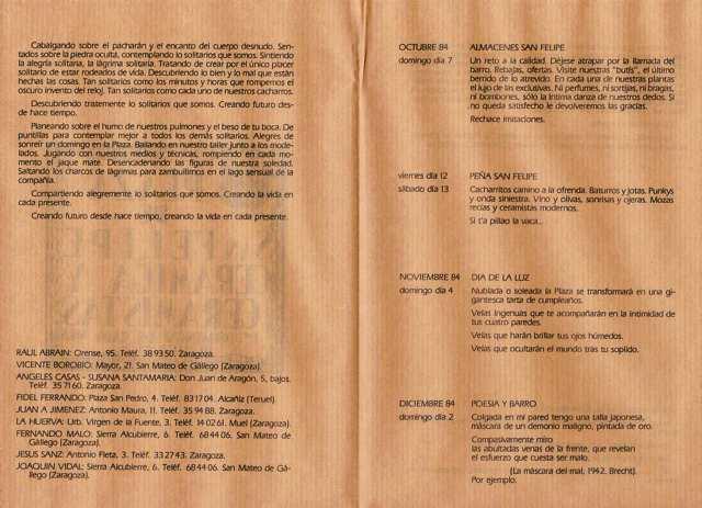 Interior del folleto. Oct. 84.